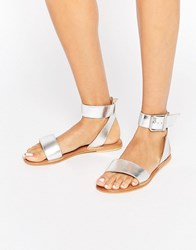 Asos Fleek Leather Two Part Sandals Silver