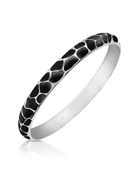 Just Cavalli Black Giraffe Patterned Stainless Steel Bangle Bracelet Silver