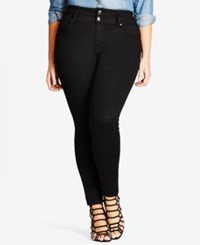 City Chic Trendy Plus Size Harley Black Wash Skinny Jeans