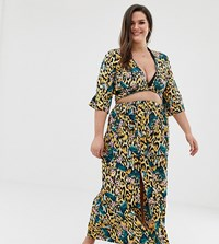 Asos Design Curve Tropical Animal Print Maxi Skirt With Split Front Co Multi