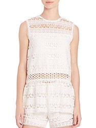 Alexis Georgette Embroidered Tank White