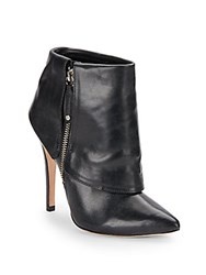 Alice Olivia Dawson Leather Fold Over Booties Black