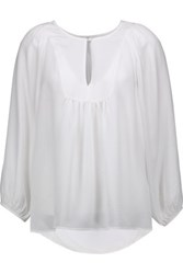 Joie Nanor Ruched Silk Blouse Ivory