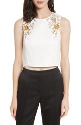 Ted Baker Women's London Embellished Bee Sleeveless Crop Top Ivory