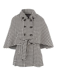 Jane Norman Mono Dogtooth Belted Cape Jacket Black Multi
