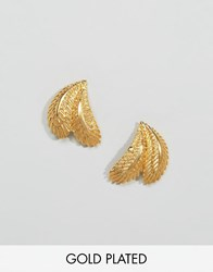 Ottoman Hands Leaf Palm Earrings Gold