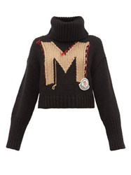 Moncler Logo Jacquard Roll Neck Chunky Knit Sweater Black Multi