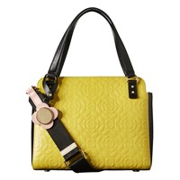 Orla Kiely Flower Stem Jeanette Leather Grab Bag Yellow