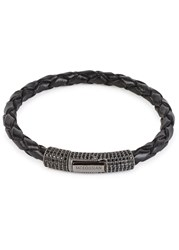 Tateossian Scoubidou Medium Crystal Leather Bracelet Black