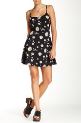 Fire Spaghetti Strap Skater Daisy Dress Black