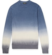 Berluti Slim Fit Degrade Cashmere And Silk Blend Sweater Blue