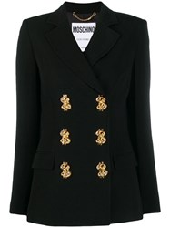 Moschino Dollar Sign Double Breasted Blazer Black