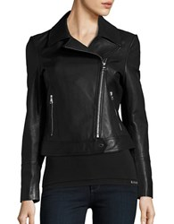 Karl Lagerfeld Leather Moto Jacket Black