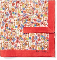 Paul Smith Printed Cotton Pocket Square Red