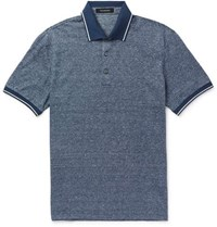 Ermenegildo Zegna Contrast Tipped Cotton And Linen Blend Polo Shirt Blue