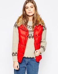 Denim And Supply Ralph Lauren Denim And Supply By Ralph Lauren Down Filled Faux Fur Trim Gilet Kayak Red