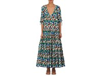 Warm Women's Latitude Tiered Cotton Maxi Dress White Green Blue No Color