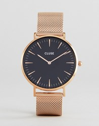 Cluse La Boh Me Cl18113 Contrast Dial Mesh Strap Watch In Rose Gold Gold