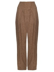Preen Austin Hound's Tooth Wide Leg Trousers Brown Multi