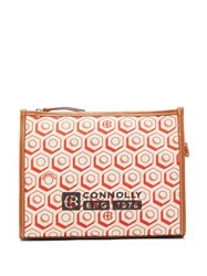 Connolly Leather Trimmed Printed Canvas Pouch Red Multi