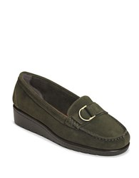 Aerosoles Parisian Suede Wedge Loafers Green Suede