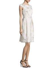 Rickie Freeman For Teri Jon Metallic Floral Jacquard Dress Ivory