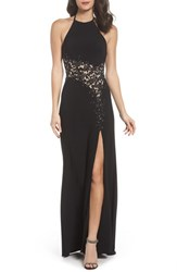 Blondie Nites Women's Illusion Lace Gown Blk Nude