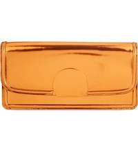Dries Van Noten Metallic Large Leather Clutch Copper