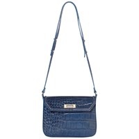 Modalu Lilly Leather Shoulder Bag Denim Croc