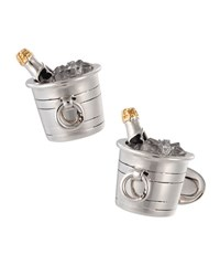 Jan Leslie Sterling Silver And Crystal Quartz Champagne Bucket Cuff Links
