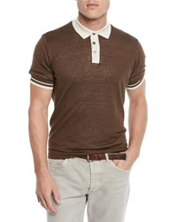 Brunello Cucinelli Tipped Linen Cotton Polo Shirt Brown