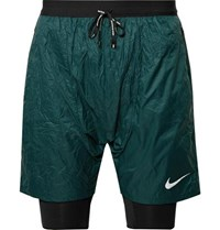 Nike Running Flex Run Division Stride Elevate Dri Fit Shorts Dark Green