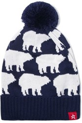 Perfect Moment Pompom Embellished Merino Wool Blend Beanie Navy