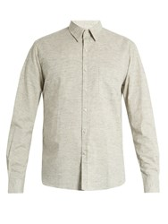 De Bonne Facture Patch Pocket Cotton And Linen Blend Shirt Grey Multi