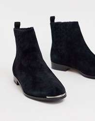 Ted Baker Iveca Leather Flat Ankle Boots Black