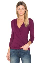Bobi Light Weight Jersey Cross Front Top Purple