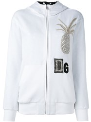 Dolce And Gabbana Crystal Pineapple Patch Hoodie White