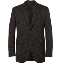 Bottega Veneta Black Slim Fit Stretch Cotton Blend Canvas Blazer Black