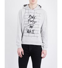 Sandro Pink Floyd Print Cotton Blend Hoody Mocked Grey