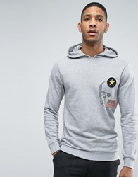 Only And Sons Hoodie With Badge Detailing Light Grey Melange