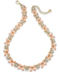 Charter Club Gold Tone Crystal And Pink Stone Collar Necklace Created For Macy's