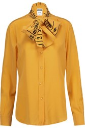 Moschino Pussy Bow Printed Silk Crepe De Chine Top Mustard