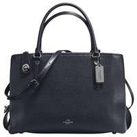Coach Brooklyn 34 Leather Carryall Tote Bag Navy
