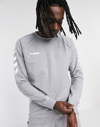 Hummel Logo Cotton Sweatshirt In Grey