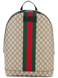 Gucci Gg Supreme Print Backpack Women Calf Leather One Size Brown