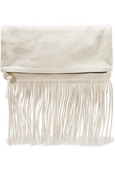 Clare V. V Maison Fold Over Fringed Textured Leather Clutch Ivory