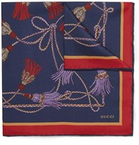 Gucci Printed Silk Twill Pocket Square Navy