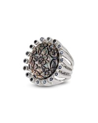 Stephen Dweck Carved Floral Mother Of Pearl Ring