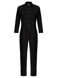 R 13 Point Collar Slim Leg Cotton Jumpsuit Black