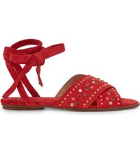 Maje Feminy Suede Sandals Rouge